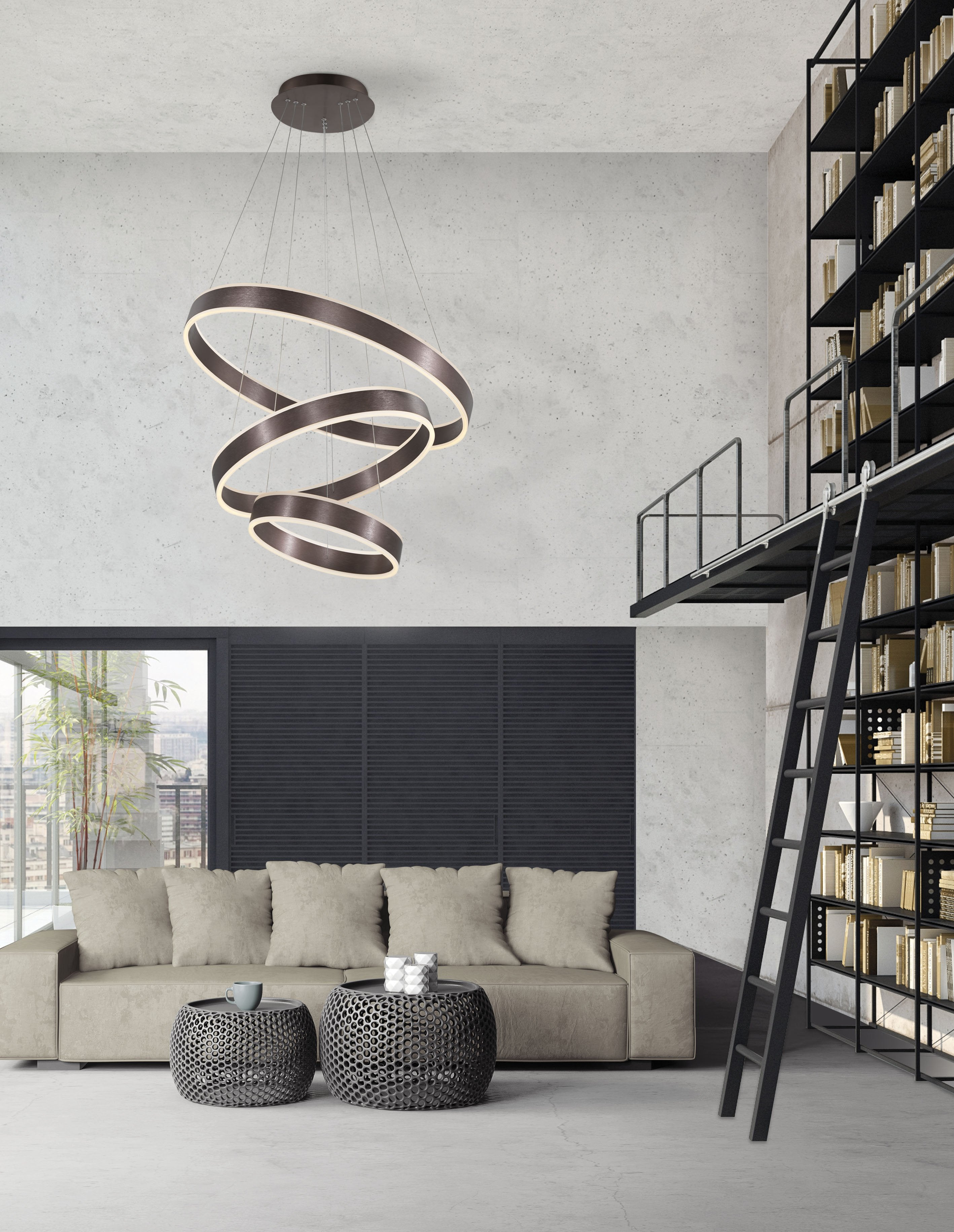 Ador Triple Bronze Hoop LED Pendant - ID 8612