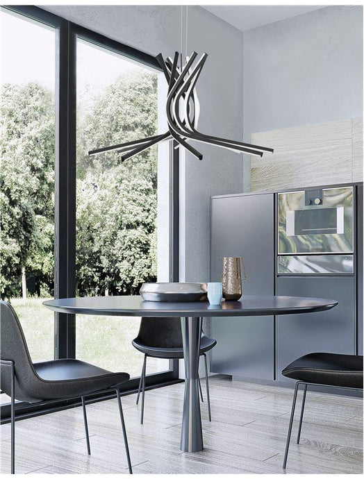 NOR Sandy Black Aluminium & Acrylic Tangle Pendant Large - ID 10193