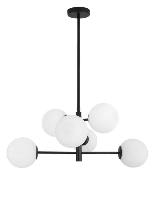 IMP Black Metal & Opal Orb 6 Light Ceiling Light - ID 10653
