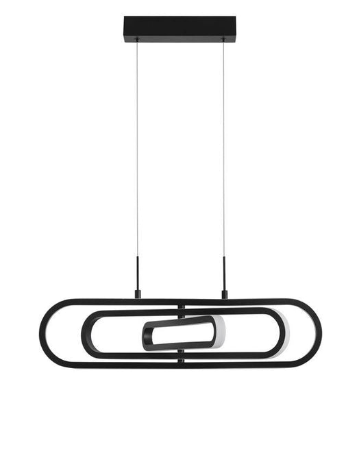 ART Matt Black Aluminium & Acrylic 3 Ring Oval Adjustable Pendant - ID 10086