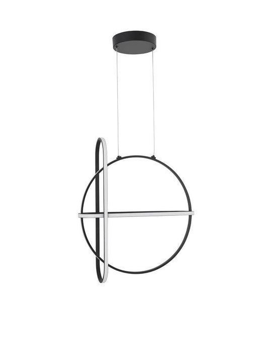ART Matt Black Aluminium & Acrylic 3 Ring Pendant - ID 10087