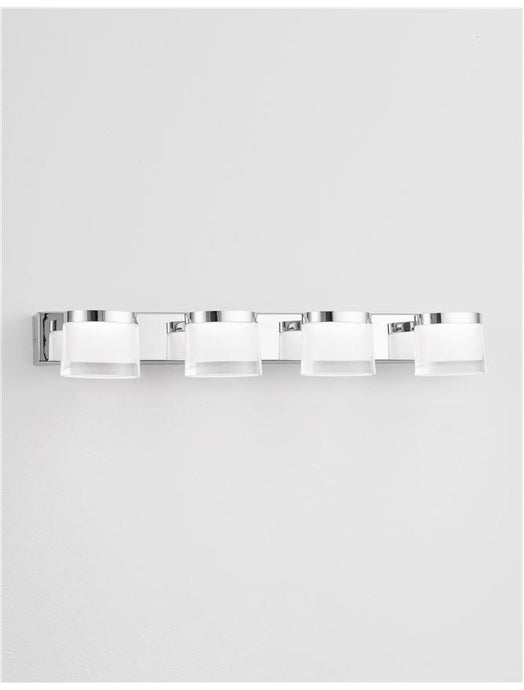 SAB Chrome Aluminium & Acrylic Quad Bathroom Wall Light - ID 10913