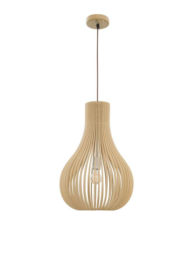 SOH Natural Wood & Dark Brown Fabric Cable Single Pendant - ID 10441