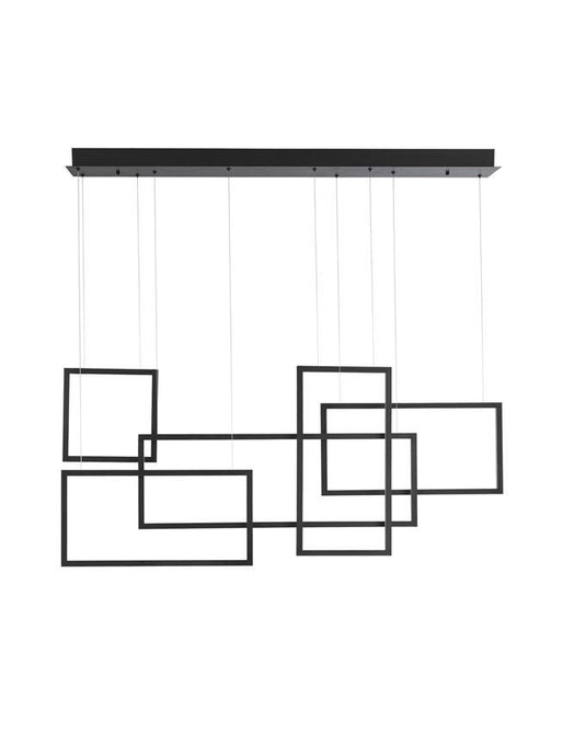 COR Sandy Black Aluminium & Acrylic Squaretangle Linear Bar Pendant - ID 10143