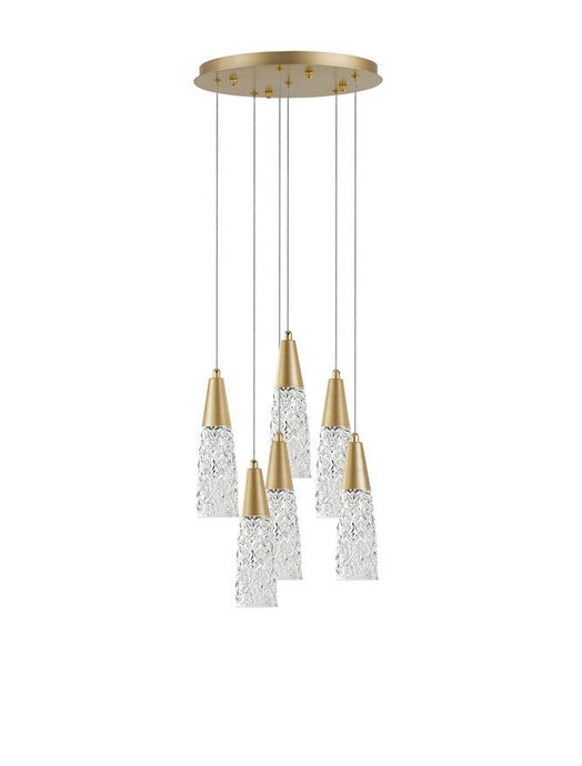 KOV Clear Structured Glass & Brushed Gold Multi Drop Pendant - ID 10552