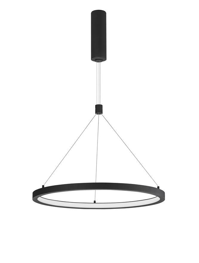 EMP Dimmable Sandy Black Aluminium & Acrylic Single Ring Pendant - ID 10198
