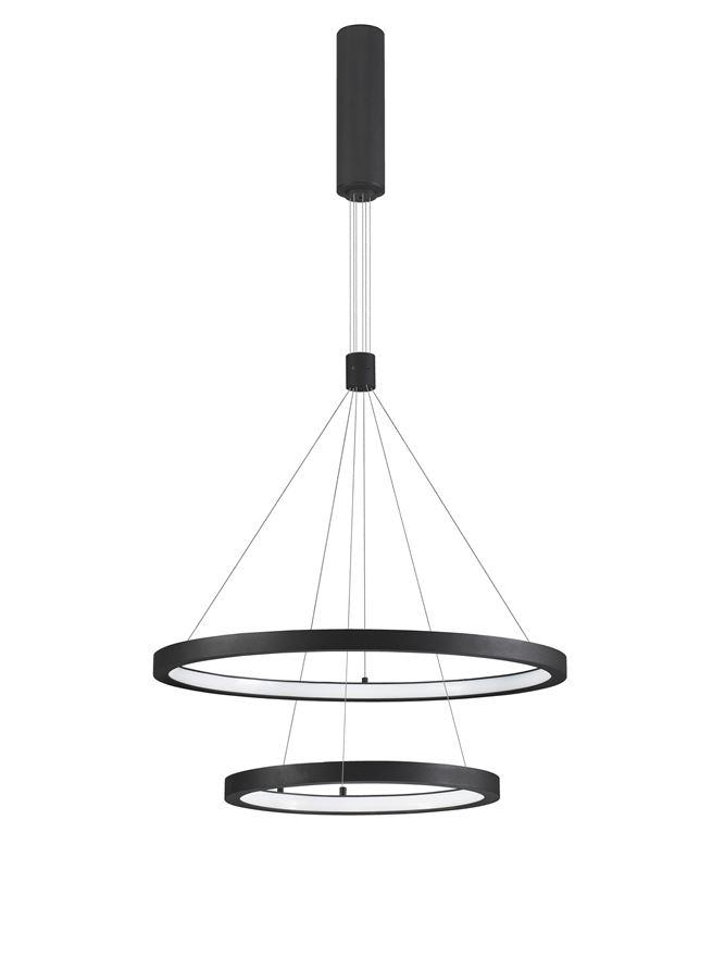 EMP Dimmable Sandy Black Aluminium & Acrylic Twin Ring Pendant - ID 10199