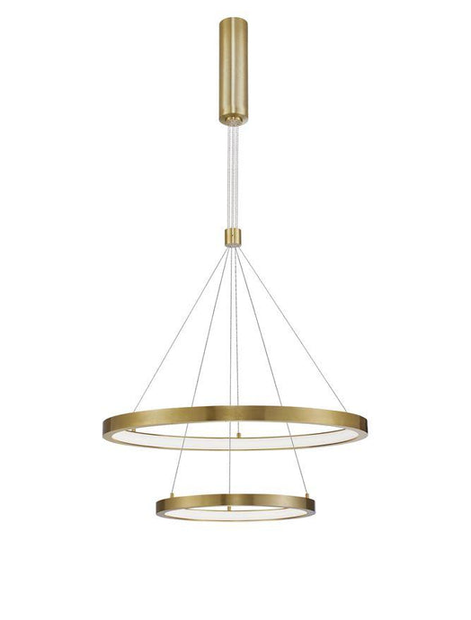 EMP Dimmable Brass Gold Aluminium & Acrylic Twin Ring Pendant - ID 10196