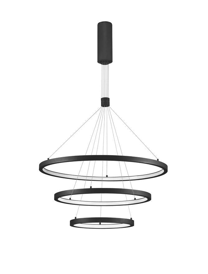 EMP Dimmable Sandy Black Aluminium & Acrylic Tripple Ring Pendant - ID 10200