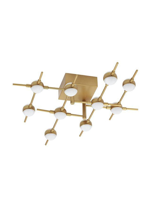 ATO Gold Metal & Acrylic 10 Lamp Molecule Semi Flush Ceiling Light - ID 10085