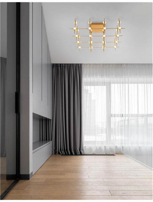 ATO Gold Metal & Acrylic 36 Lamp Molecule Semi Flush Ceiling Light With Remote Control - ID 10080