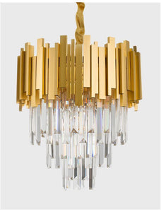 GRA Gold Metal & Crystal Contemporary Chandelier Small - ID 10476