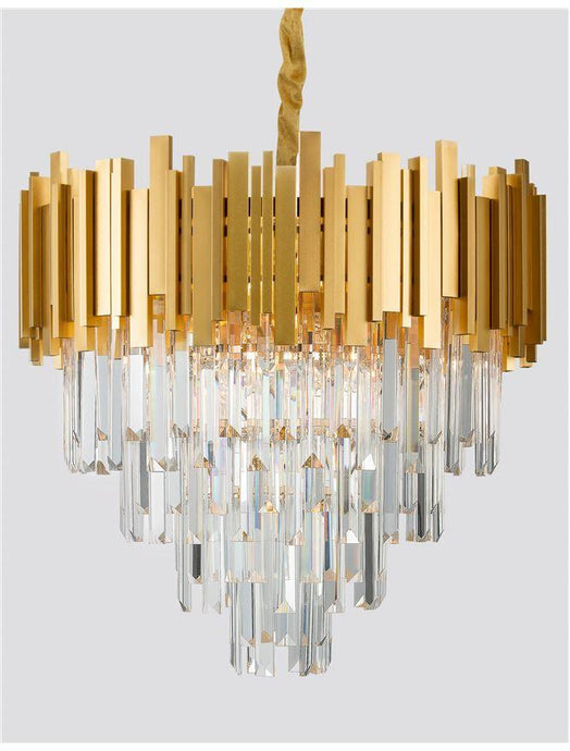 GRA Gold Metal & Crystal Contemporary Chandelier Large - ID 10477
