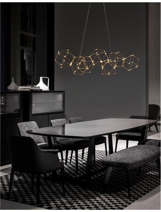 NEB Gold Wire Mesh LED Geometric Globule Pendant Medium - ID 10062