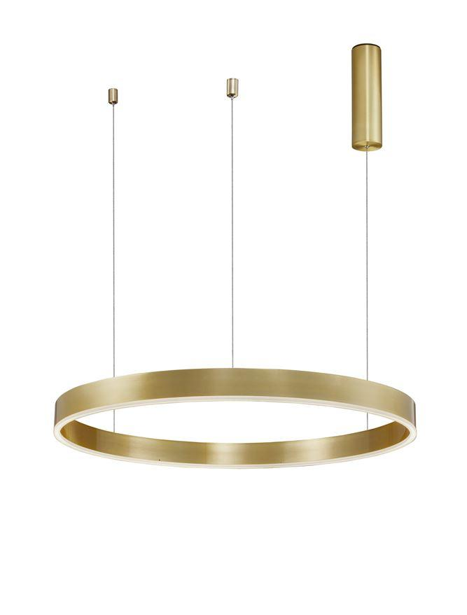 MOT Dimmable Brass Gold Aluminium & Acrylic Ring Pendant Medium - ID 10202