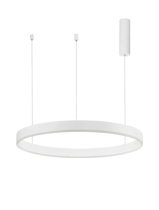MOT Dimmable Sandy White Aluminium & Acrylic Ring Pendant Medium - ID 10208