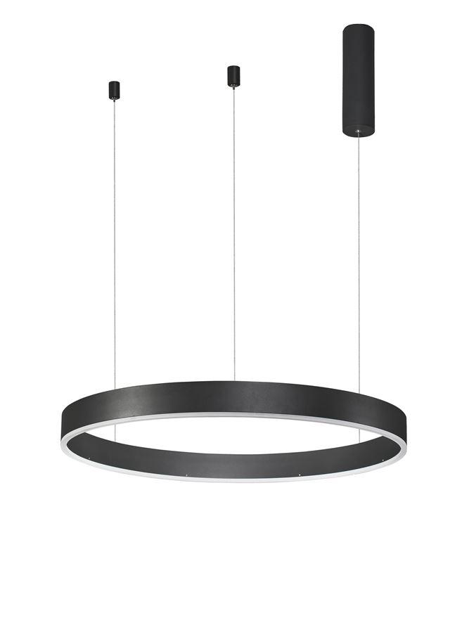 MOT Dimmable Sandy Black Aluminium & Acrylic Ring Pendant Small - ID 10204