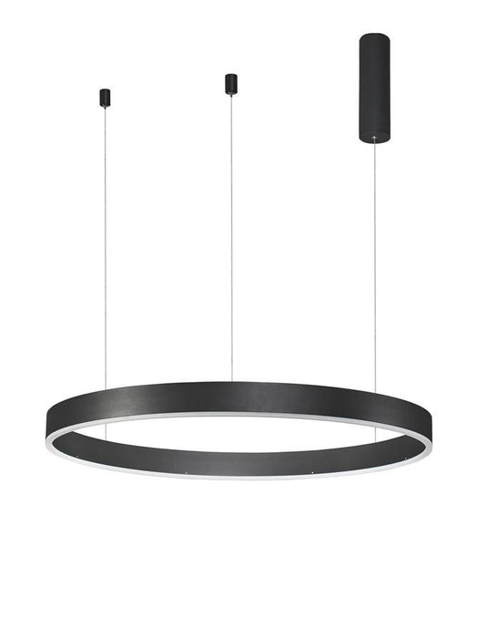 MOT Dimmable Sandy Black Aluminium & Acrylic Ring Pendant Medium - ID 10205