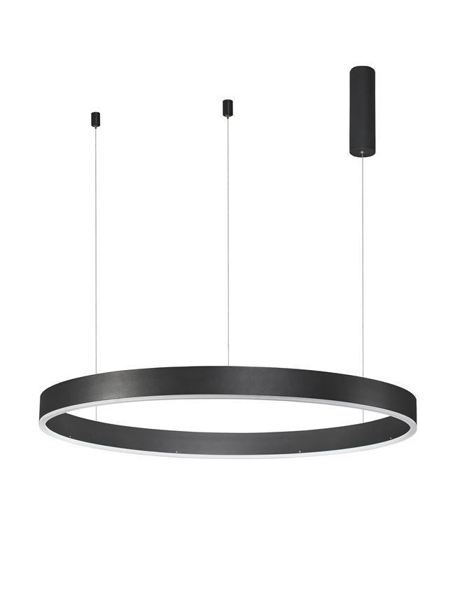 MOT Dimmable Sandy Black Aluminium & Acrylic Ring Pendant Large - ID 10206