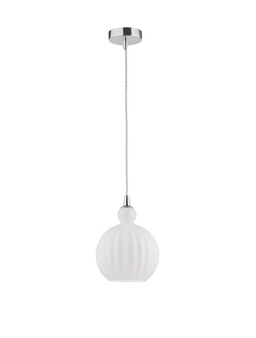 ODE Opal Glass & Chrome Aluminium Finish Single Pendant Medium - ID 10018