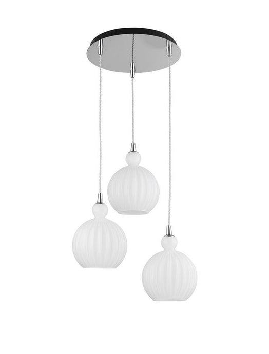 ODE Opal Glass & Chrome Aluminium Finish Multiple Drop Pendant - ID 10020