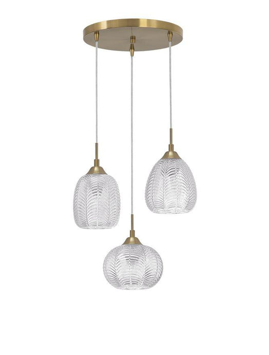 VAR Clear Waved Glass & Satin Gold Metal 3 Light Multi Pendant - ID 10034