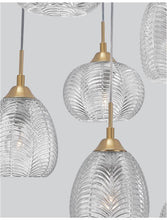 VAR Clear Waved Glass & Satin Gold Metal 5 Light Multi Pendant - ID 10032