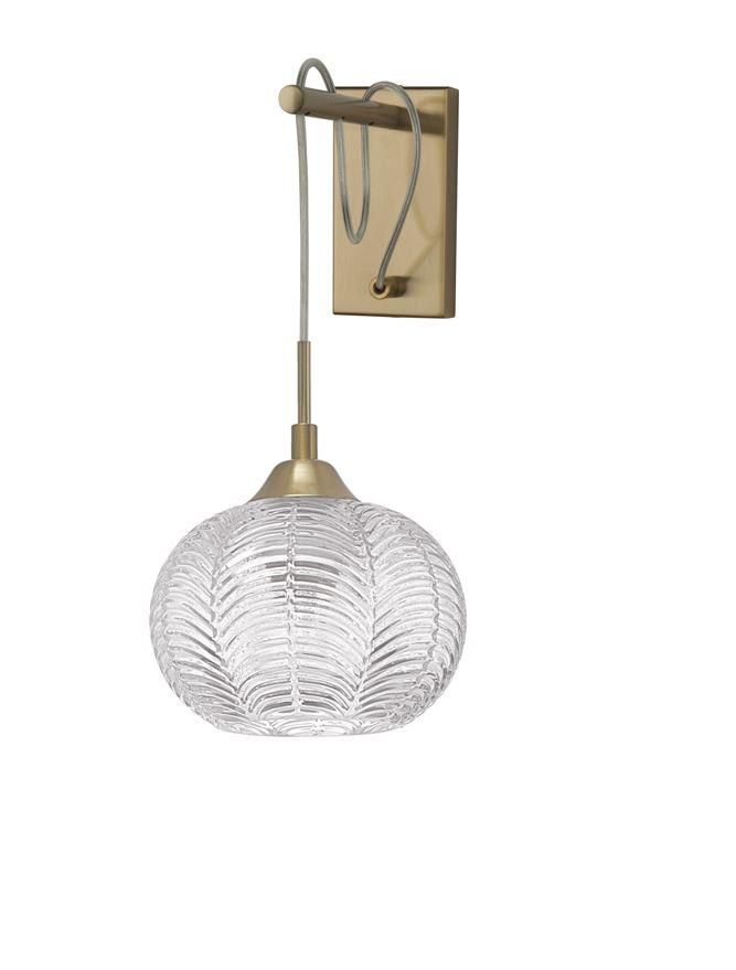 VAR Clear Waved Glass & Satin Gold Metal Single Wall Light - ID 10033