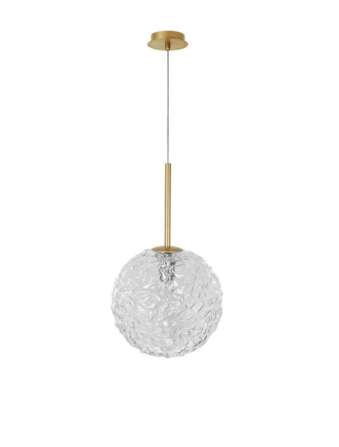 MIRA Clear Structured Glass & Brass Gold Steel Large Single  Pendant - ID 10546