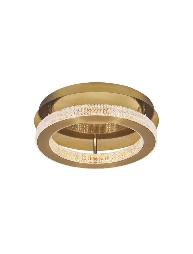 FIO Dimmable Gold & Acrylic Single Ring Flush Ceiling Light Small - ID 10072