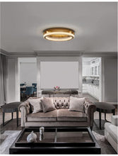 FIO Dimmable Gold & Acrylic Single Ring Flush Ceiling Light Medium - ID 10073