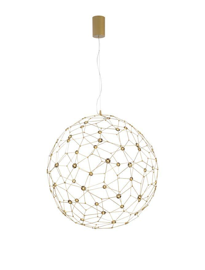 SOL Gold Wire Mesh LED Sphere Pendant Medium - ID 10058