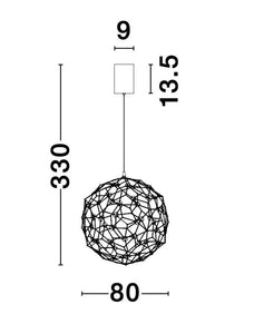 SOL Gold Wire Mesh LED Sphere Pendant Large - ID 10059
