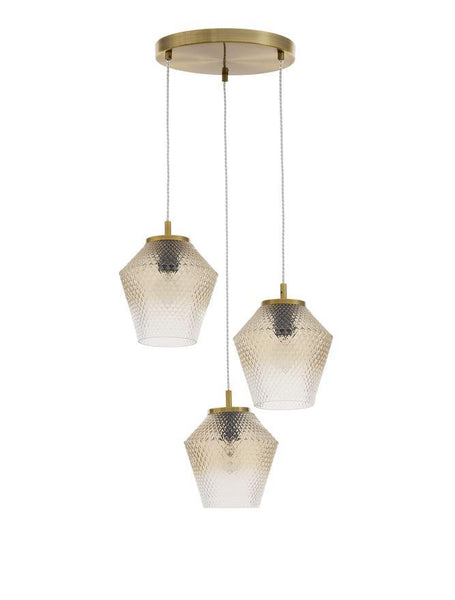 MAG Cognac Shadow Glass & Brass Finish Multi Drop Pendant - ID 10015