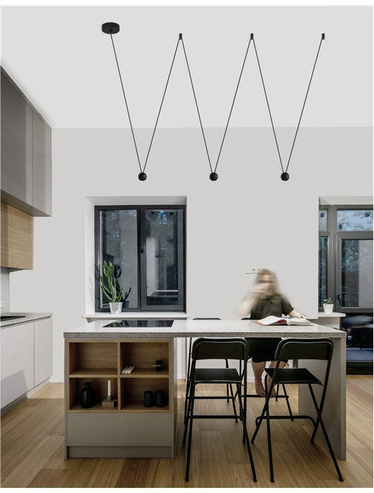 NOC Black Aluminium & Fabric Wire 3 Lamp Linear Pendant - ID 9958