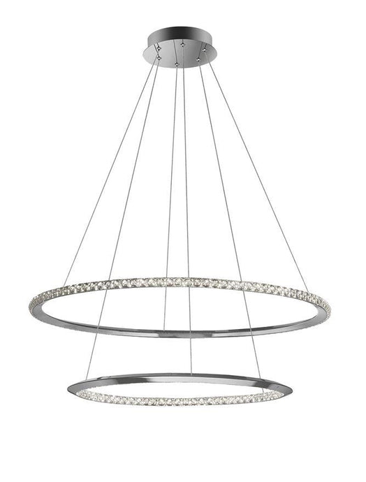 NET Chrome Aluminium & Crystal Adjustable Twin Ring Dimmable Pendant Large - ID 10470