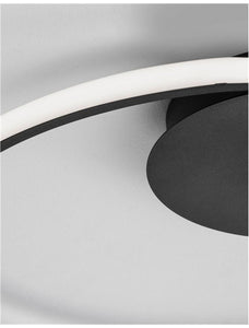 FUL Single Halo Dimmable Ceiling Light In Sandy Black Aluminium & Acrylic - ID 10325