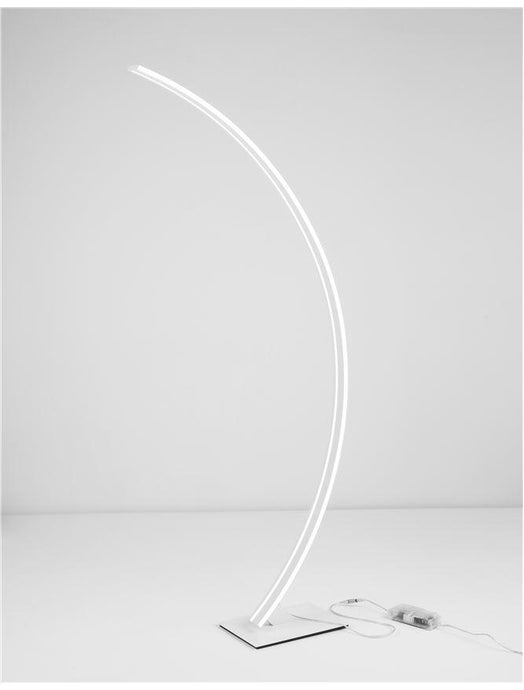 BRET Sandy White Aluminium & Acrylic Edged Arched Floor Light - ID 10436