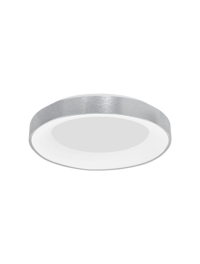 RAN Brushed Silver Aluminium & Acrylic Dimmable Warm Light Ring Flush Large - ID 10618