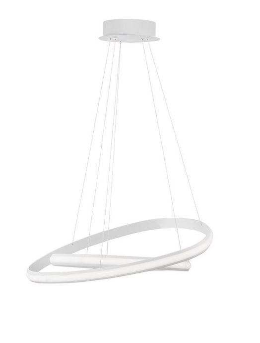 ARI Dimmable Sandy White Aluminium & Acrylic Double Ring Pendant - ID 10223