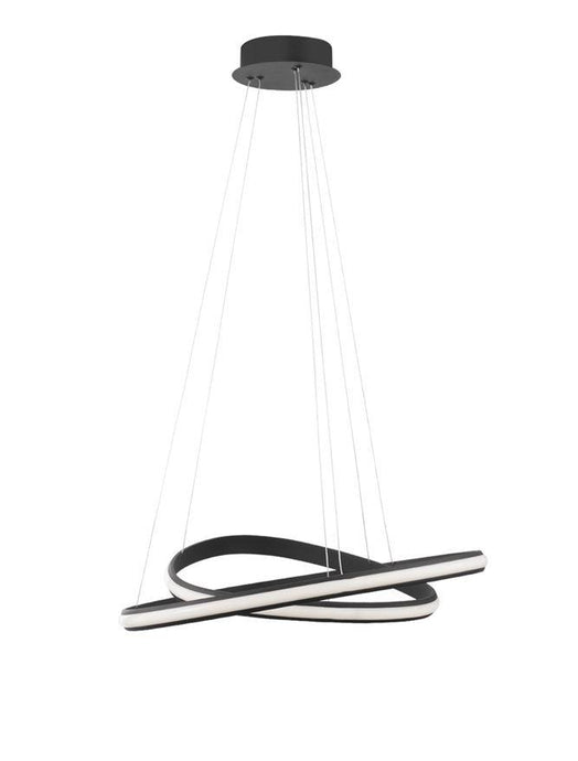 ARI Dimmable Sandy Black Aluminium & Acrylic Double Ring Pendant - ID 10222