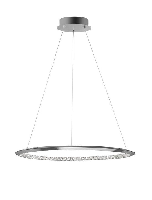 NET Chrome Aluminium & Crystal Adjustable Single Ring Dimmable Pendant Small - ID 10471