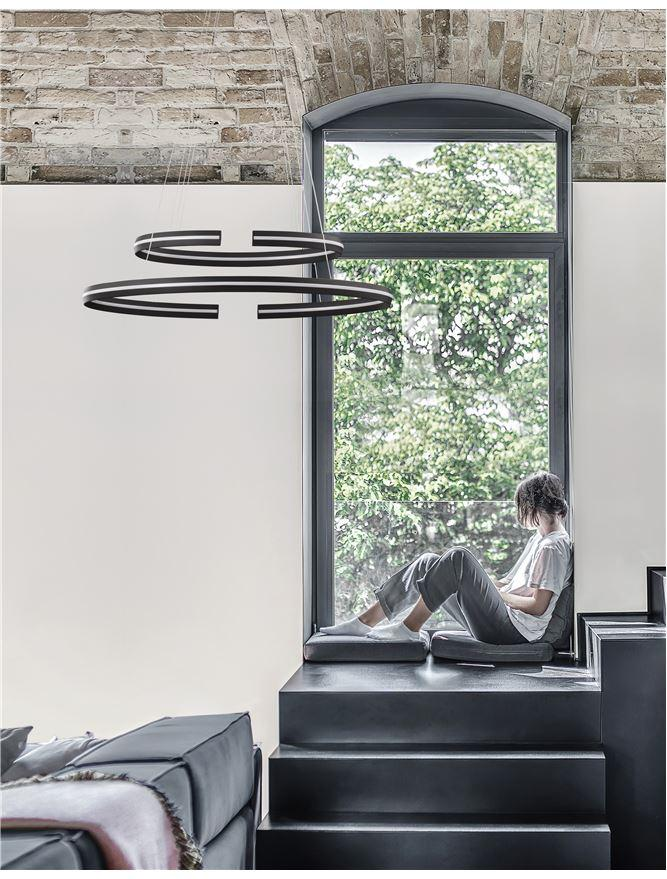 TOR Sandy Black Aluminium Split Loop Pendant Large - ID 10190
