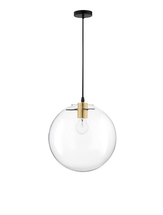 MIR Clear Glass & Gold Metal Medium Single Orb Pendant - ID 10002