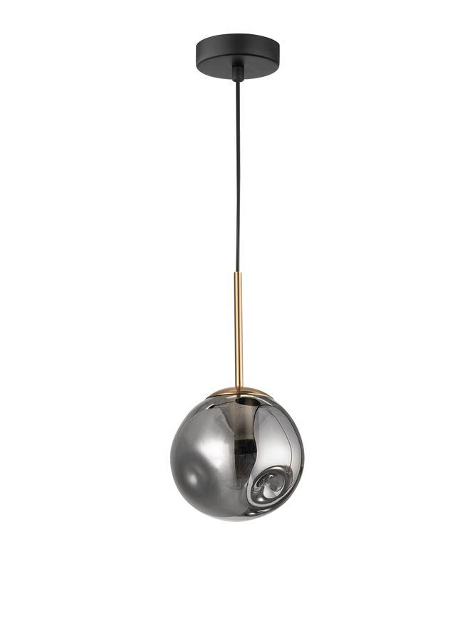 SPA Chrome Indented Glass & Gold Metal Single Pendant With Black PVC Coated Flex - ID 10021