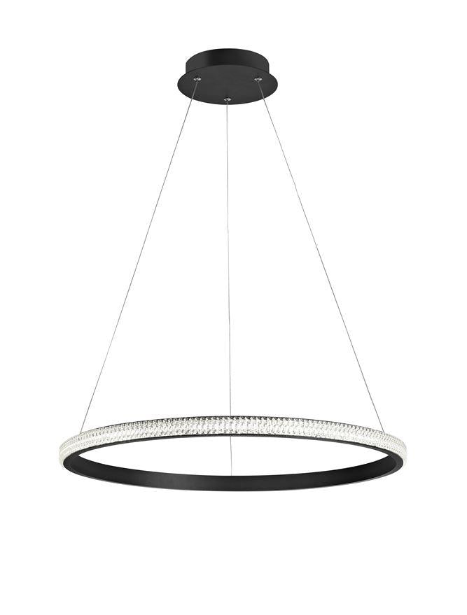 NAG Dimmable Single Ring Pendant Light In Sandy Black Aluminium & Acrylic - ID 9991