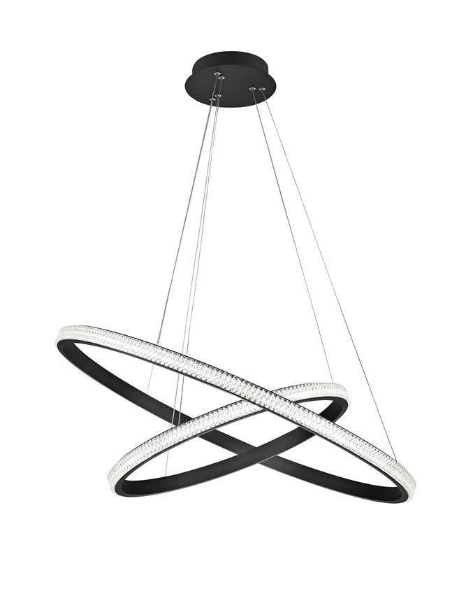 NAG Dimmable Double Ring Pendant Light In Sandy Black Aluminium & Acrylic - ID 9992