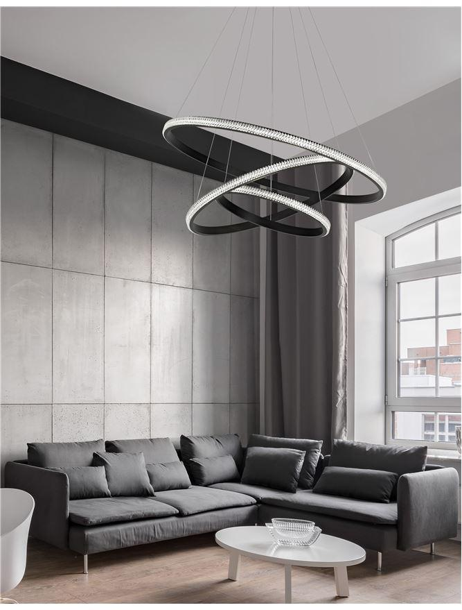 NAG Dimmable Tripple Ring Pendant Light In Sandy Black Aluminium & Acrylic - ID 9993
