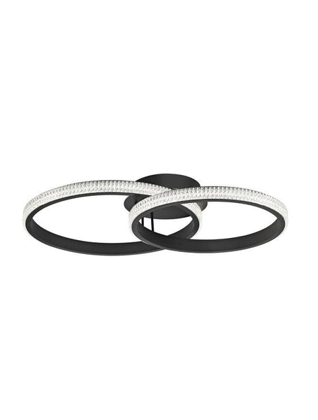NAG Double Ring Ceiling Light In Sandy Black Aluminium & Acrylic - ID 10233