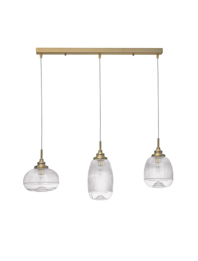 MON Clear Lined Enclosed Glass & Gold Metal 3 Light Linear Bar Pendant - ID 10028